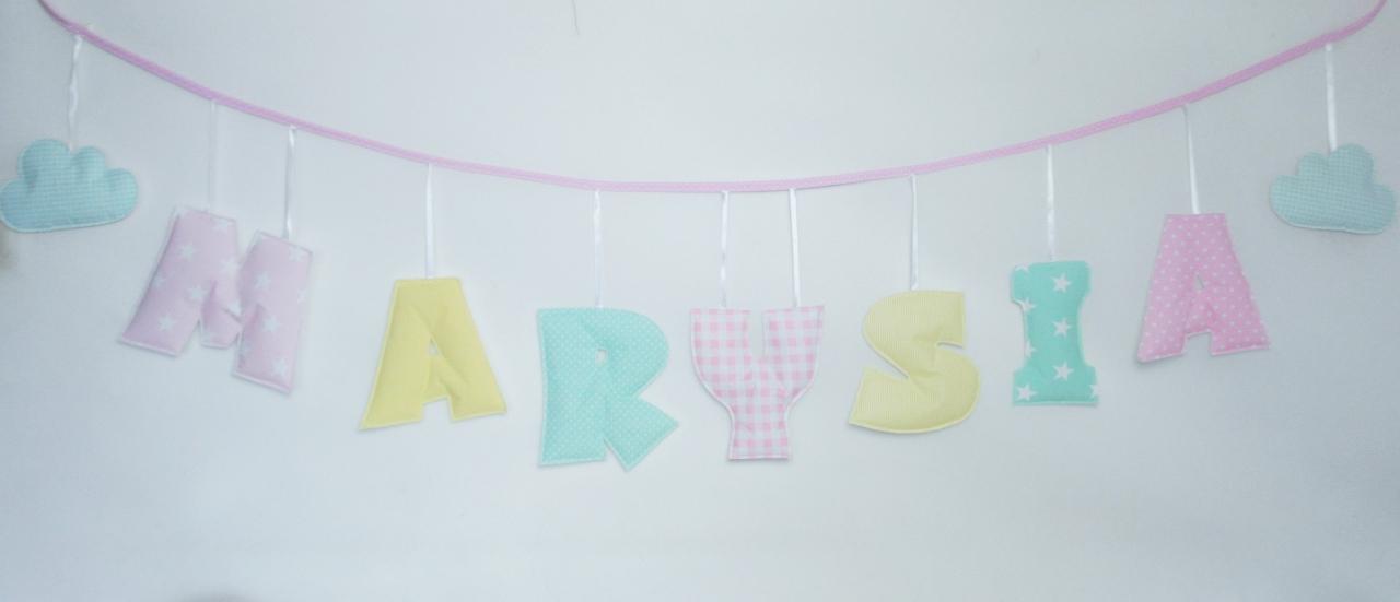 Zestaw literek Girlanda z imieniem dziecka - zestaw 7 literowy