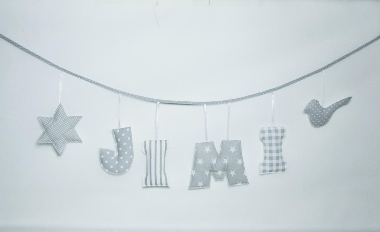 Zestaw literek Girlanda z imieniem dziecka - zestaw 4 literek