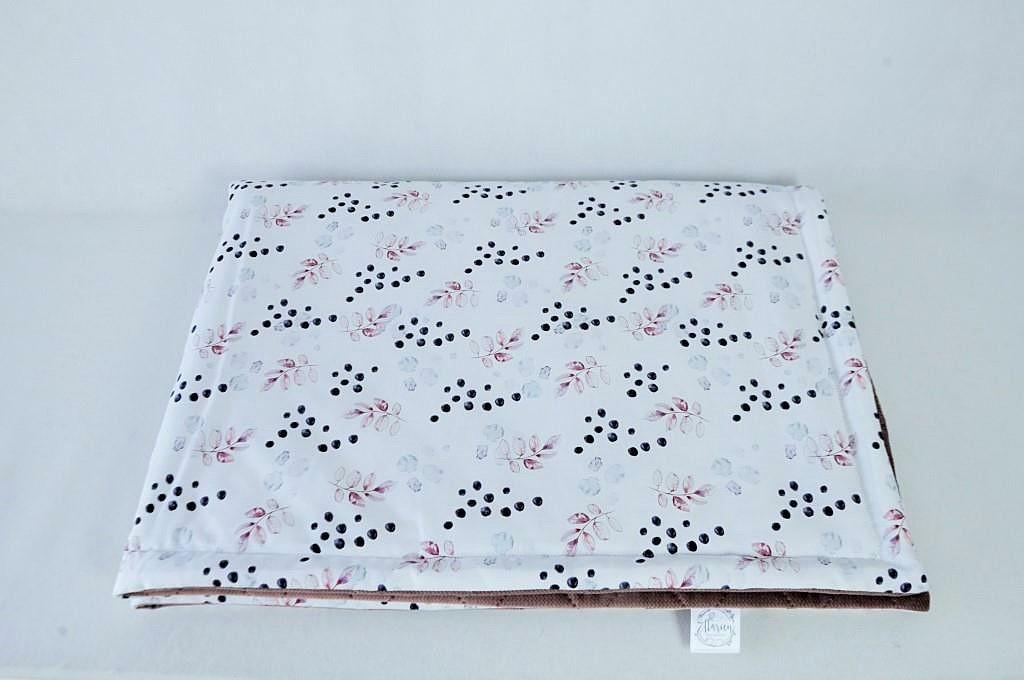 Zestaw literek Kocyk bawełna satynowa kropki i liście 100x135