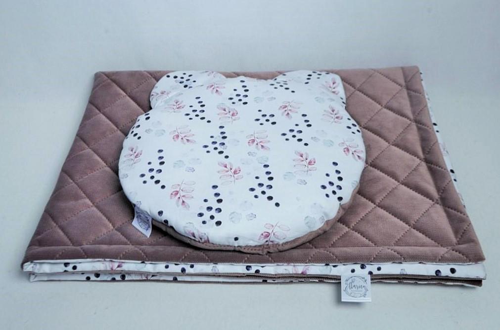 Zestaw literek Zestaw Kocyk bawełna satynowa 100x135 cm i poduszka miś