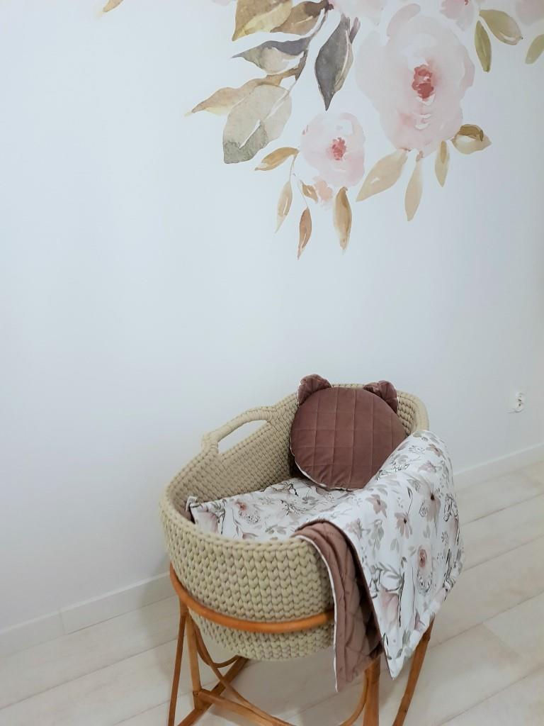 Zestaw literek Zestaw pastelowe magnolie - kocyk  75x100 cm i poduszka miś